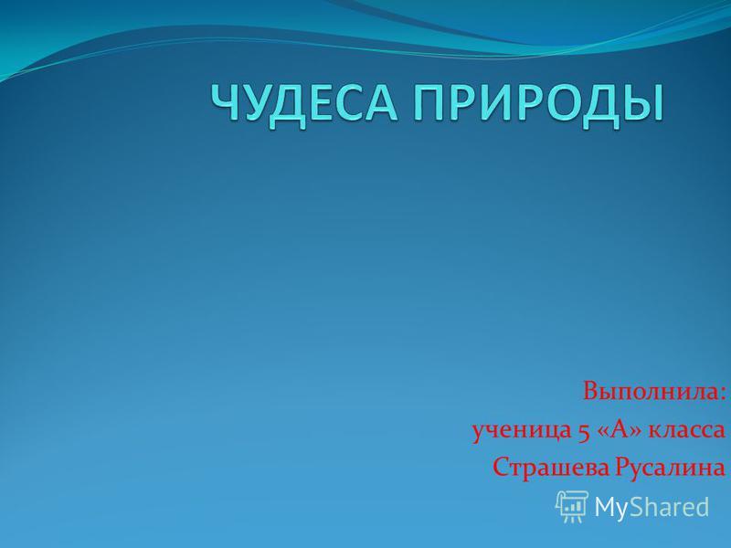 Выполнила: ученица 5 «А» класса Страшева Русалина