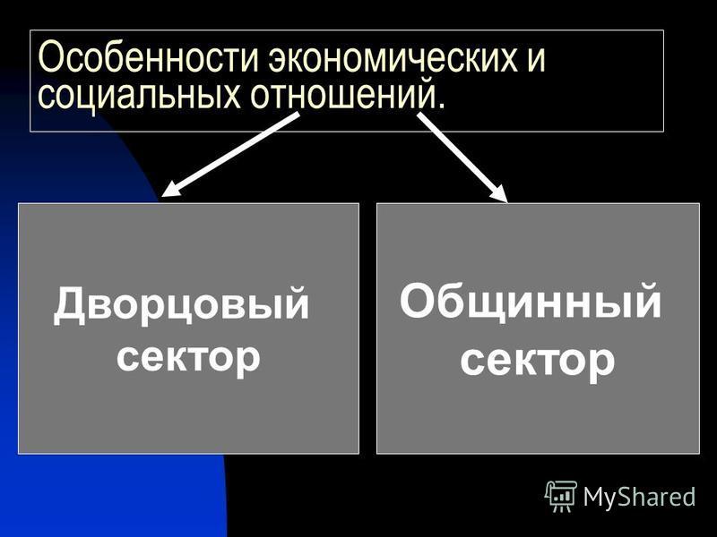 Особенности экономических и социальных отношений. Дворцовый сектор Общинный сектор
