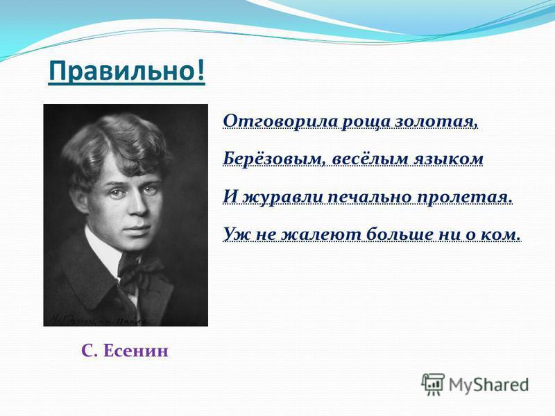 Правильно! С. Есенин Отговорила роща золотая, Берёзовым, весёлым языком И журавли печально пролетая. Уж не жалеют больше ни о ком.