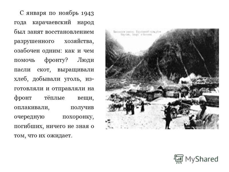С января по ноябрь 1943 года карачаевский народ был занят восстановлением разрушенного хозяйства, озабочен одним: как и чем помочь фронту? Люди пасли скот, выращивали хлеб, добывали уголь, из готовляли и отправляли на фронт тёплые вещи, оплакивали