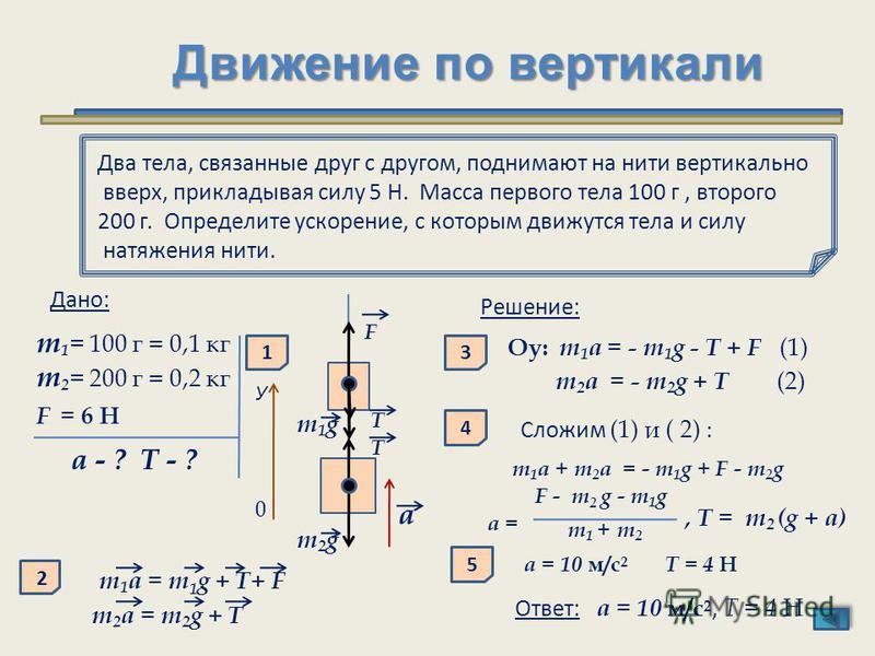 Движение по вертикали Два тела, связанные друг с другом, поднимают на нити вертикально вверх, прикладывая силу 5 Н. Масса первого тела 100 г, второго 200 г. Определите ускорение, с которым движутся тела и силу натяжения нити. Дано: m 1 = 100 г = 0,1