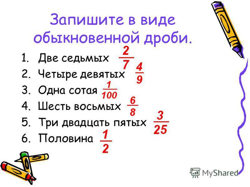 Запишите в виде обыкновенной дроби. 1. Две седьмых 2. Четыре девятых 3. Одна сотая 4. Шесть восьмых 5. Три двадцать пятых 6.Половина