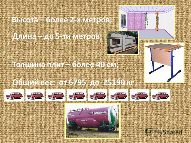 Высота – более 2-х метров; Длина – до 5-ти метров; Толщина плит – более 40 см; Общий вес: от 6795 до 25190 кг