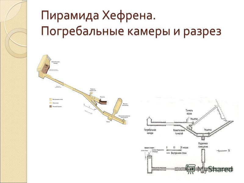 Пирамида Хефрена. Погребальные камеры и разрез