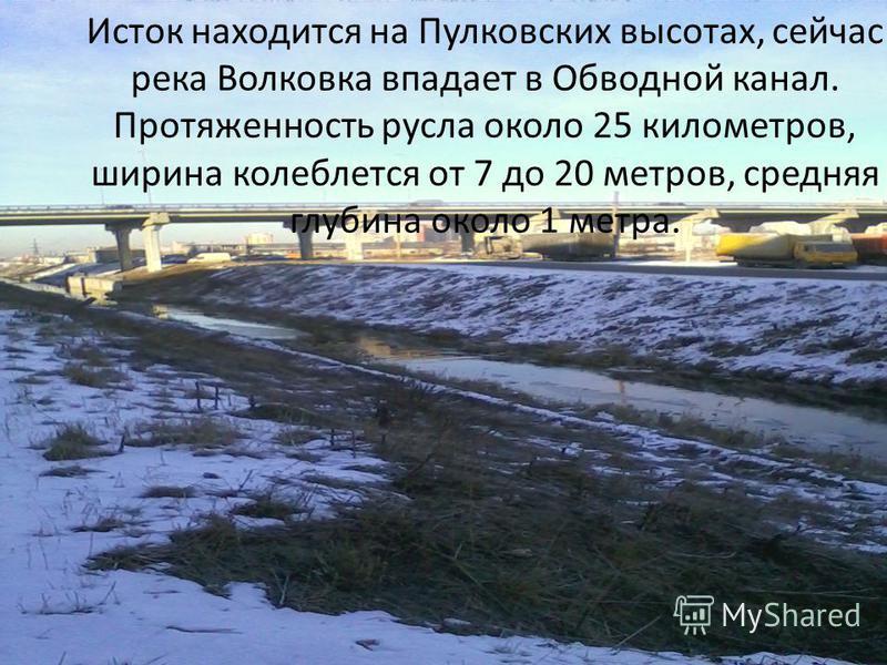 Исток находится на Пулковских высотах, сейчас река Волковка впадает в Обводной канал. Протяженность русла около 25 километров, ширина колеблется от 7 до 20 метров, средняя глубина около 1 метра.