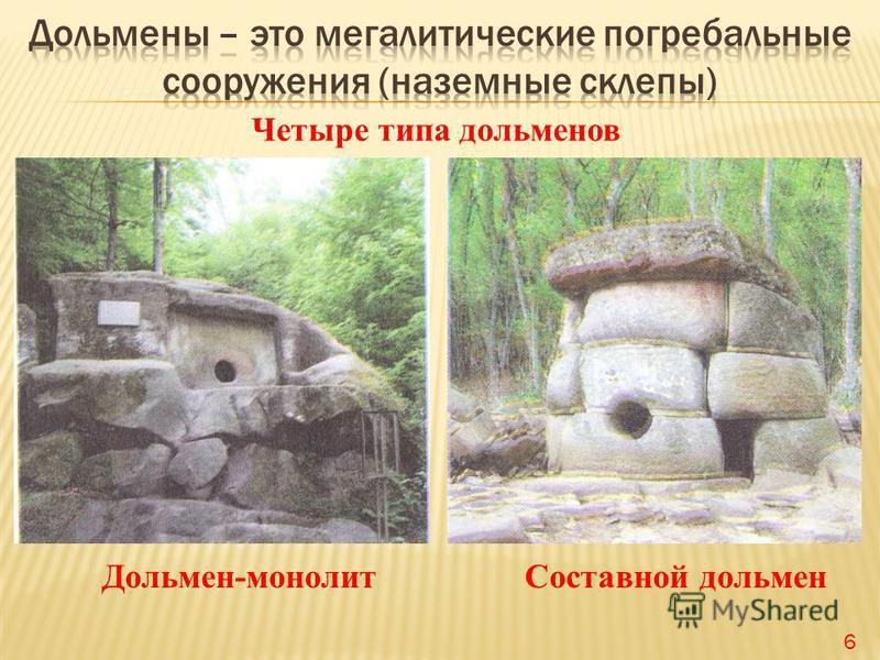 Четыре типа дольменов Дольмен-монолит Составной дольмен 6