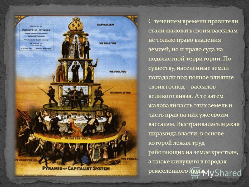 С течением времени правители стали жаловать своим вассалам не только право владения землей, но и право суда на подвластной территории. По существу, населенные земли попадали под полное влияние своих господвассалов великого князя. А те затем жаловали