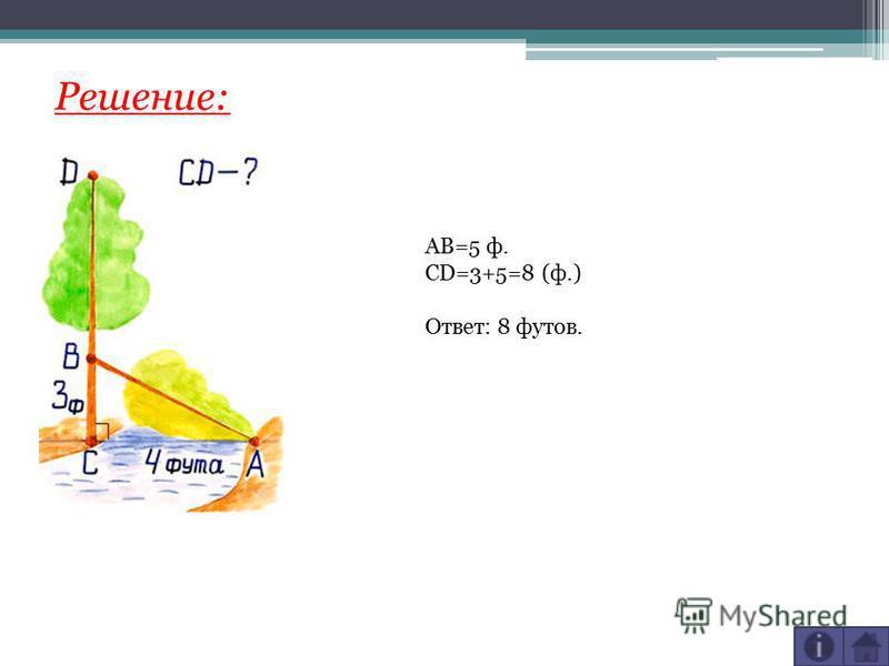 Решение: AB=5 ф. CD=3+5=8 (ф.) Ответ: 8 футов.