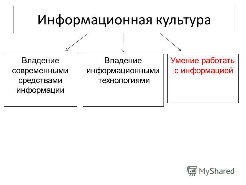 Информационная культура Владение современными средствами информации Умение работать с информацией Владение информационными технологиями