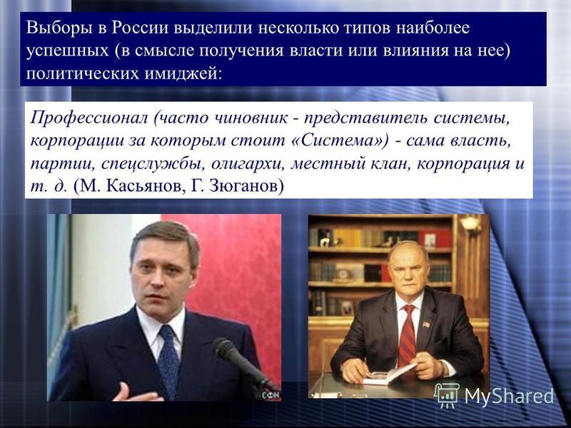Выборы в России выделили несколько типов наиболее успешных (в смысле получения власти или влияния на нее) политических имиджей: Профессионал (часто чиновник - представитель системы, корпорации за которым стоит «Система») - сама власть, партии, спецсл