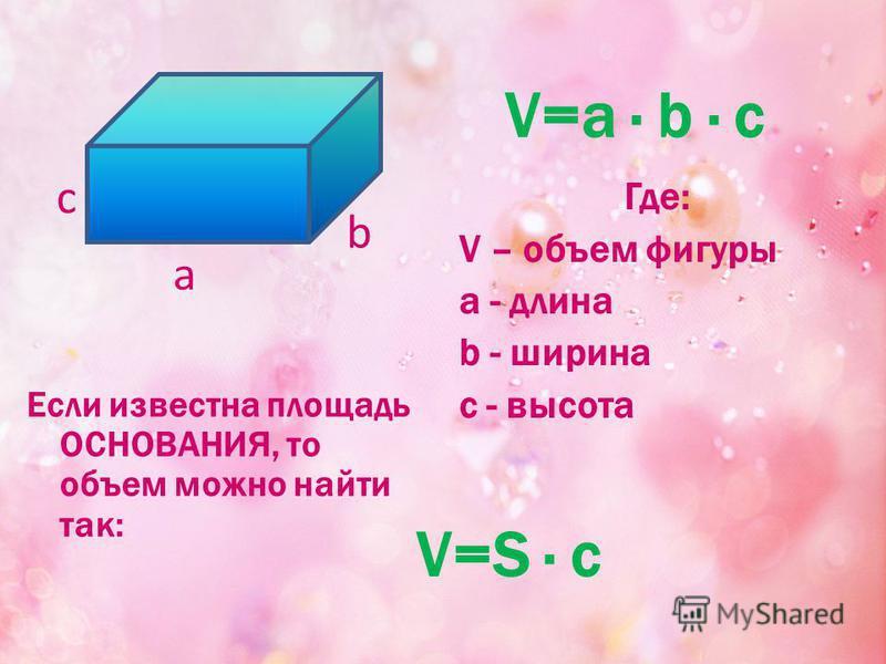 Где: V – объем фигуры a - длина b - ширина c - высота V=a · b · c а b с V=S · c Если известна площадь ОСНОВАНИЯ, то объем можно найти так: