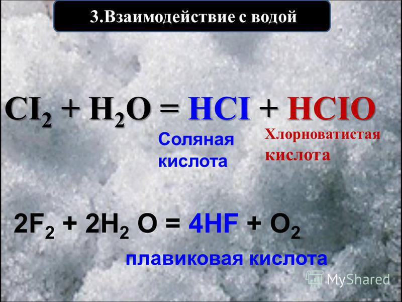 3. Взаимодействие с водой CI 2 + H 2 O = HCI + HCIO Хлорноватистая кислота Соляная кислота 2F 2 + 2Н 2 О = 4НF + О 2 плавиковая кислота