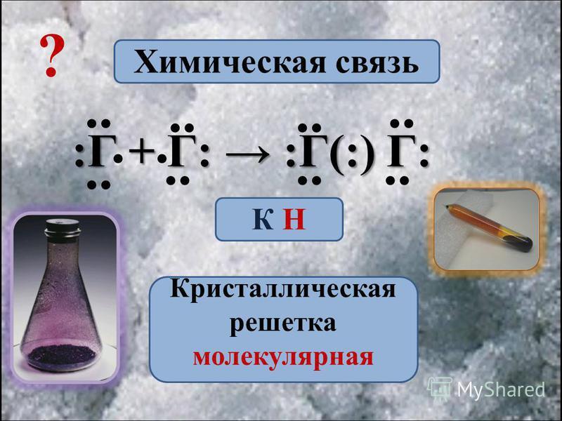 :Г + Г: :Г(:) Г:.... Химическая связь К Н Кристаллическая решетка молекулярная ?