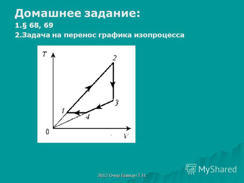 2013 Очер Бавкун Т.Н. Домашнее задание: 1.§ 68, 69 2. Задача на перенос графика изопроцесса