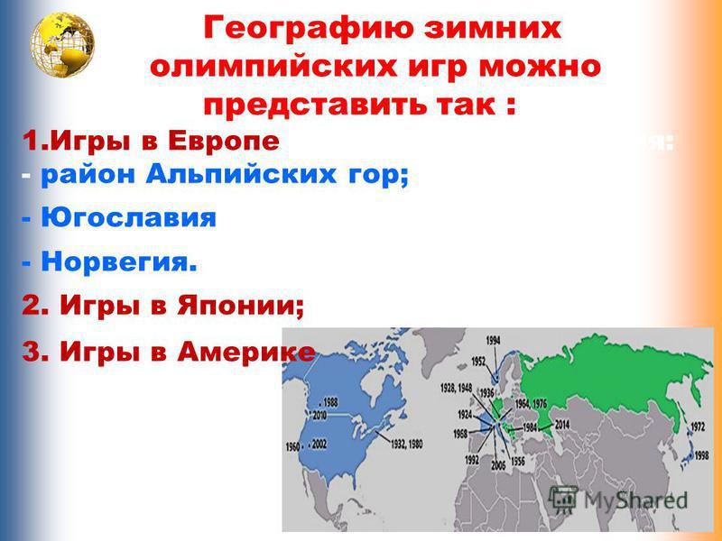 Географию зимних олимпийских игр можно представить так : 1. Игры в Европе – 3 региона проведения: - район Альпийских гор; - Югославия - Норвегия. 2. Игры в Японии; 3. Игры в Америке