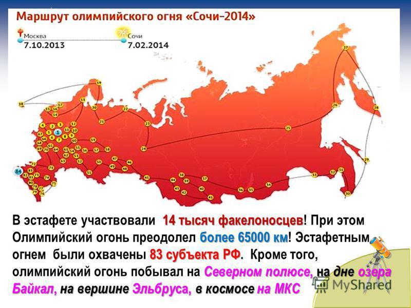 14 тысяч факелоносцев более 65000 км 83 субъекта РФ Северном полюсе, на дне озера Байкал, на вершине Эльбру са, в космосе на МКС В эстафете участвовали 14 тысяч факелоносцев! При этом Олимпийский огонь преодолел более 65000 км! Эстафетным огнем были