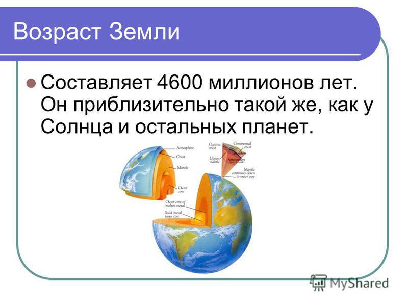 Возраст Земли Составляет 4600 миллионов лет. Он приблизительно такой же, как у Солнца и остальных планет.
