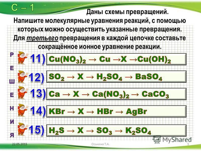 Даны схемы превращений. Напишите молекулярные уравнения реакций, с помощью которых можно осуществить указанные превращения. Для третьего превращения в каждой цепочке составьте сокращённое ионное уравнение реакции. 22.05.20155Оськина Т.А.