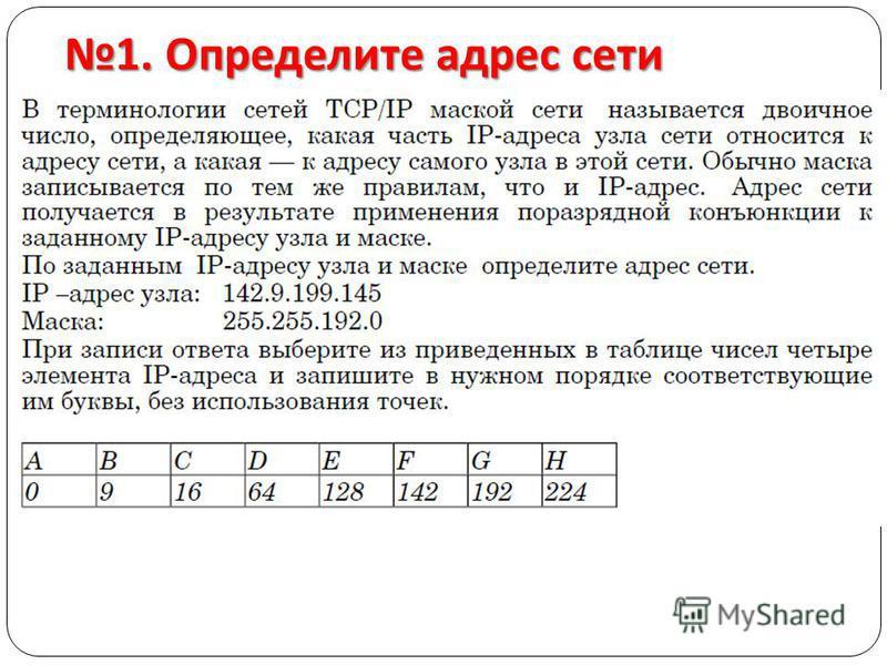 1. Определите адрес сети