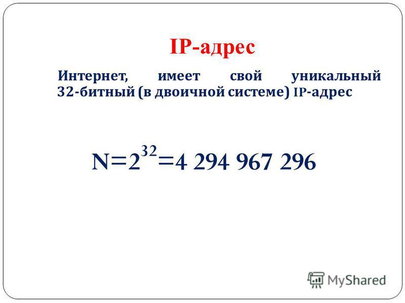 IP-адрес Интернет, имеет свой уникальный 32- битный ( в двоичной системе ) IP- адрес N=2 32 =4 294 967 296