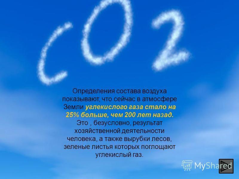 Определения состава воздуха показывают, что сейчас в атмосфере Земли углекислого газа стало на 25% больше, чем 200 лет назад. Это, безусловно, результат хозяйственной деятельности человека, а также вырубки лесов, зеленые листья которых поглощают угле