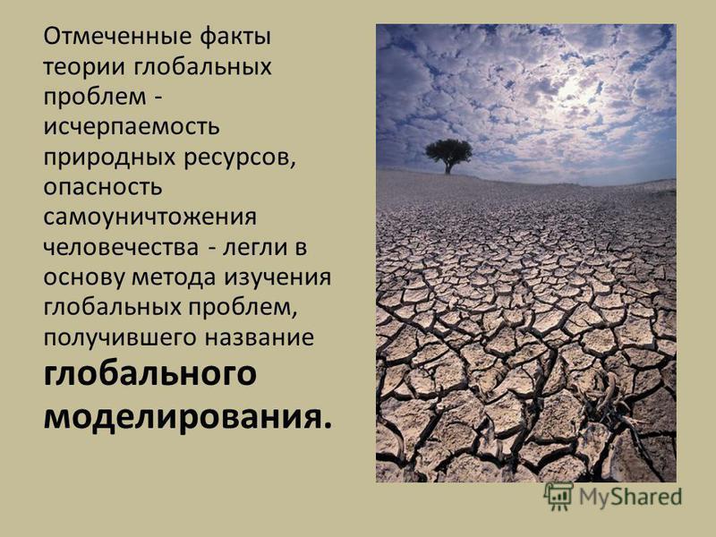 Отмеченные факты теории глобальных проблем - исчерпаемость природных ресурсов, опасность самоуничтожения человечества - легли в основу метода изучения глобальных проблем, получившего название глобального моделирования.