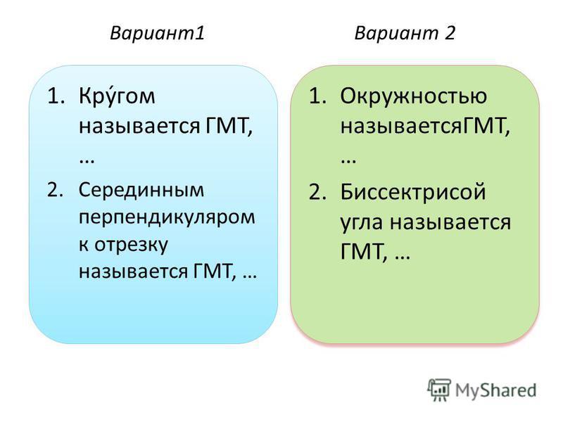 Вариант 1Вариант 2 1.Кру́гом называется ГМТ, … 2. Серединным перпендикуляром к отрезку называется ГМТ, … 1. Окружностью называетсяГМТ, … 2. Биссектрисой угла называется ГМТ, … 1. Окружностью называетсяГМТ, … 2. Биссектрисой угла называется ГМТ, …