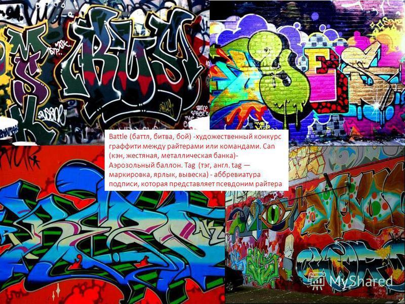 Battle (баттл, битва, бой) -художественный конкурс граффити между рейтерами или командами. Can (кен, жестяная, металлическая банка)- Аэрозольный баллон. Tag (тэг, англ. tag маркировка ярлык вывеска) - аббревиатура подписи, которая представляет псевдо