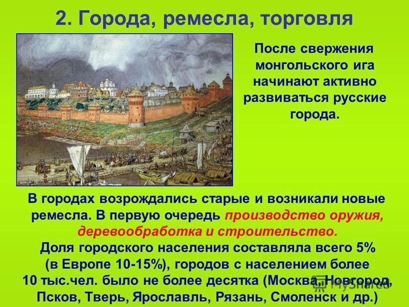 2. Города, ремесла, торговля После свержения монгольского ига начинают активно развиваться русские города. В городах возрождались старые и возникали новые ремесла. В первую очередь производство оружия, деревообработка и строительство. Доля городского