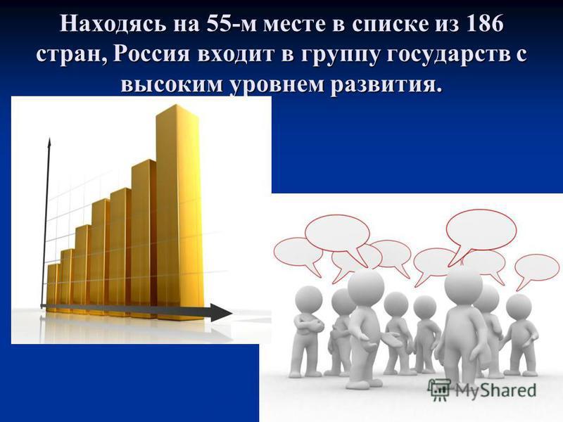 Находясь на 55-м месте в списке из 186 стран, Россия входит в группу государств с высоким уровнем развития.