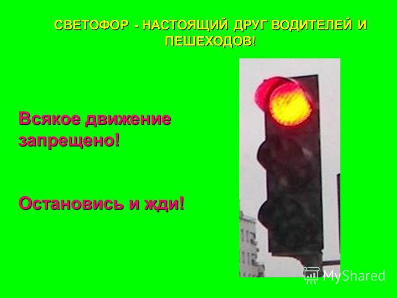 СВЕТОФОР - НАСТОЯЩИЙ ДРУГ ВОДИТЕЛЕЙ И ПЕШЕХОДОВ! Всякое движение запрещено! Остановись и жди!