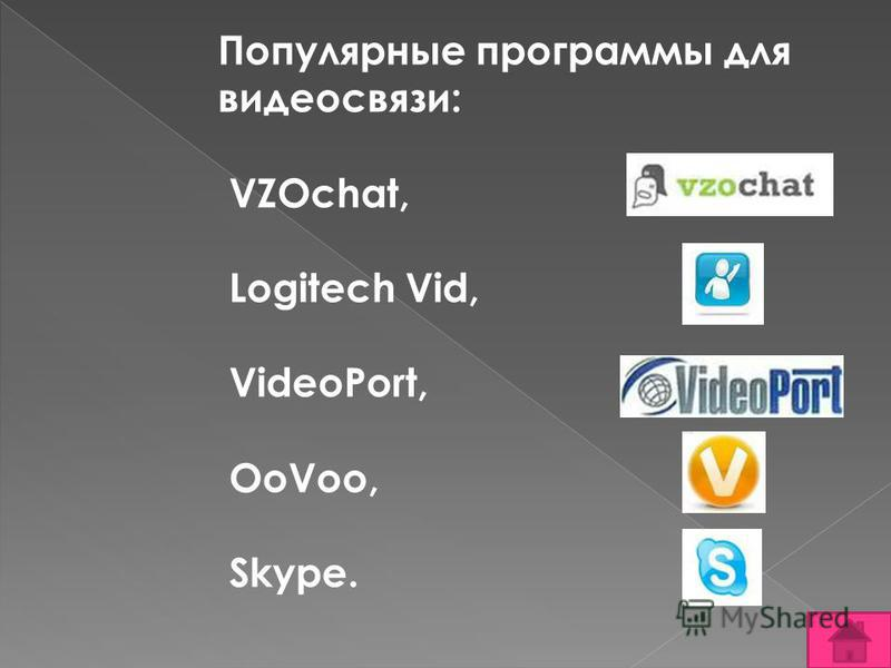 Популярные программы для видеосвязи: VZOchat, Logitech Vid, VideoPort, OoVoo, Skype.