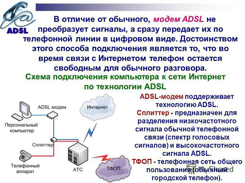 В отличие от обычного, модем ADSL не преобразует сигналы, а сразу передает их по телефонной линии в цифровом виде. Достоинством этого способа подключения является то, что во время связи с Интернетом телефон остается свободным для обычного разговора.