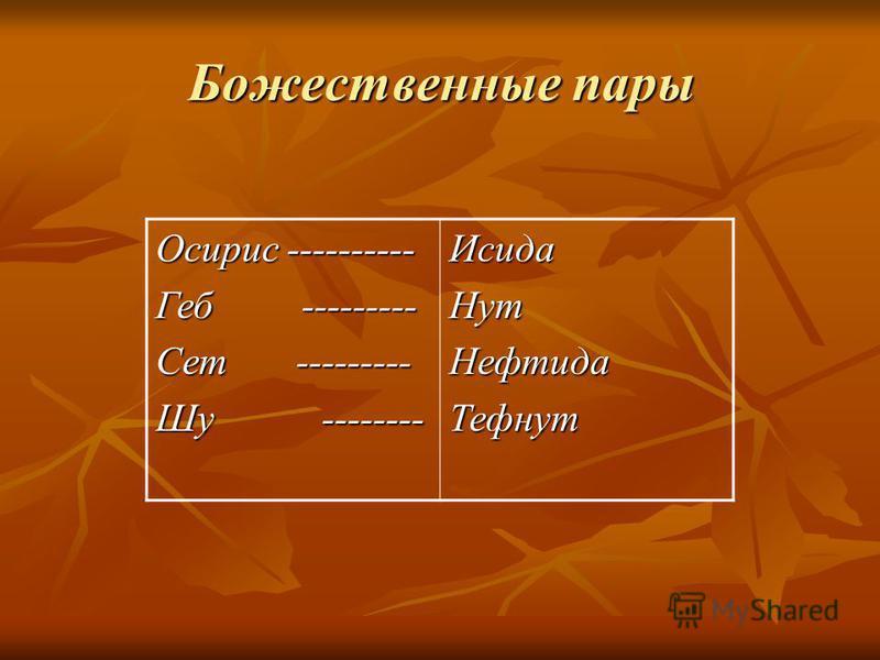 Божественные пары Осирис ---------- Геб --------- Сет --------- Шу -------- Исида НутНефтида Тефнут