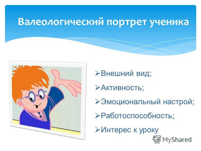 Валеологический портрет ученика Внешний вид; Активность; Эмоциональный настрой; Работоспособность; Интерес к уроку