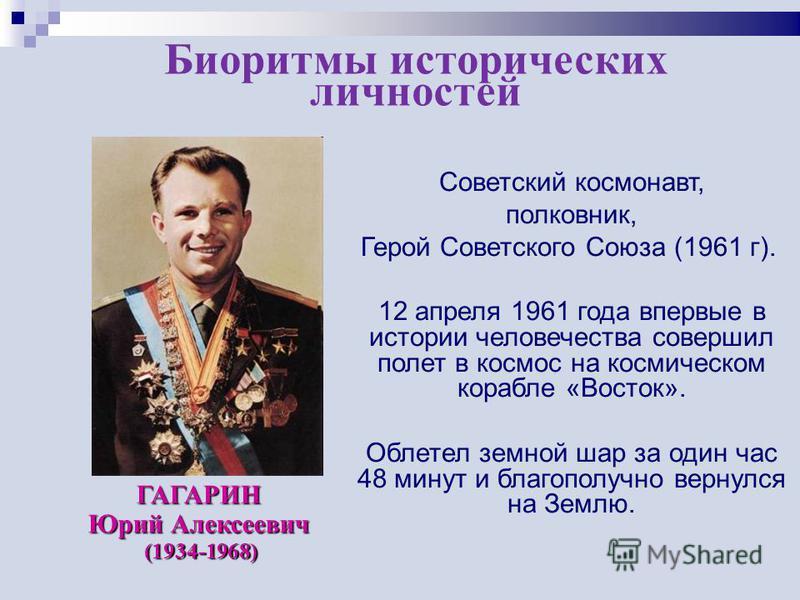 Советский космонавт, полковник, Герой Советского Союза (1961 г). 12 апреля 1961 года впервые в истории человечества совершил полет в космос на космическом корабле «Восток». Облетел земной шар за один час 48 минут и благополучно вернулся на Землю. ГАГ