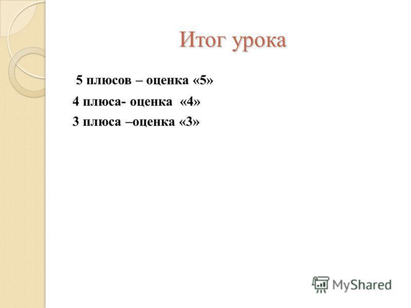 Итог урока 5 плюсов – оценка «5» 4 плюса- оценка «4» 3 плюса –оценка «3»