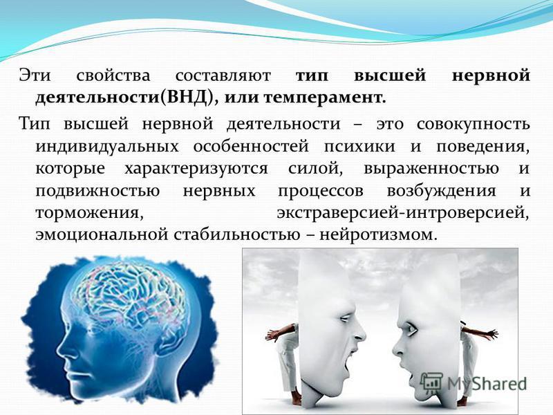 Эти свойства составляют тип высшей нервной деятельности(ВНД), или темперамент. Тип высшей нервной деятельности – это совокупность индивидуальных особенностей психики и поведения, которые характеризуются силой, выраженностью и подвижностью нервных про