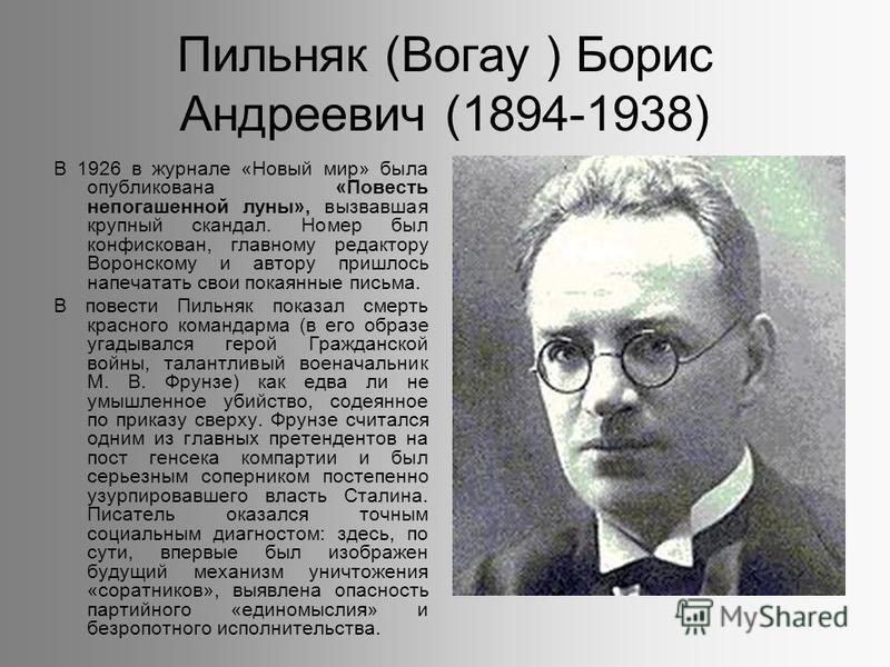 Пильняк (Вогау ) Борис Андреевич (1894-1938) В 1926 в журнале «Новый мир» была опубликована «Повесть непогашенной луны», вызвавшая крупный скандал. Номер был конфискован, главному редактору Воронскому и автору пришлось напечатать свои покаянные письм