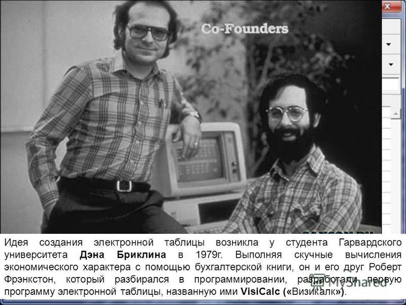 Идея создания электронной таблицы возникла у студента Гарвардского университета Дэна Бриклина в 1979 г. Выполняя скучные вычисления экономического характера с помощью бухгалтерской книги, он и его друг Роберт Фрэнкстон, который разбирался в программи