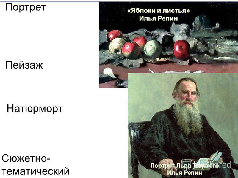 Портрет Пейзаж Натюрморт Сюжетно- тематический