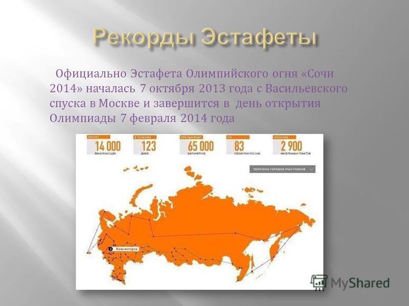 Официально Эстафета Олимпийского огня «Сочи 2014» началась 7 октября 2013 года с Васильевского спуска в Москве и завершится в дени открытия Олимпиады 7 февраля 2014 года