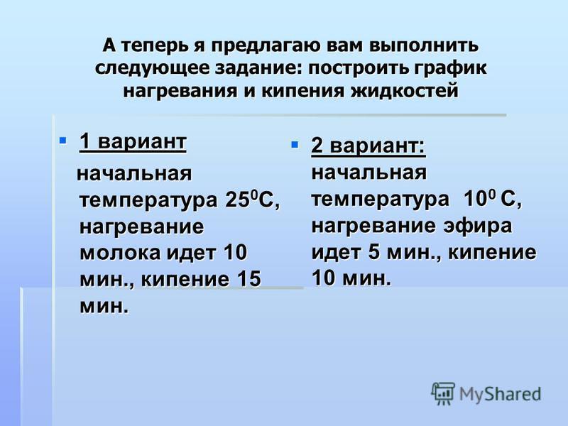 1 вариант 1 вариант начальная температура 25 0 С, нагревание молока идет 10 мин., кипение 15 мин. начальная температура 25 0 С, нагревание молока идет 10 мин., кипение 15 мин. 2 вариант: начальная температура 10 0 С, нагревание эфира идет 5 мин., кип
