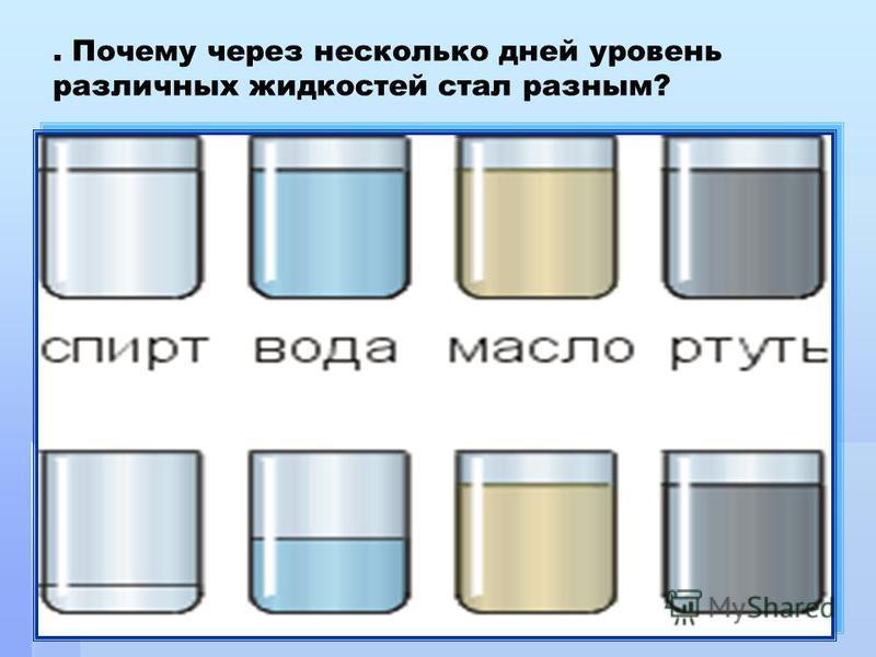 . Почему через несколько дней уровень различных жидкостей стал разным?