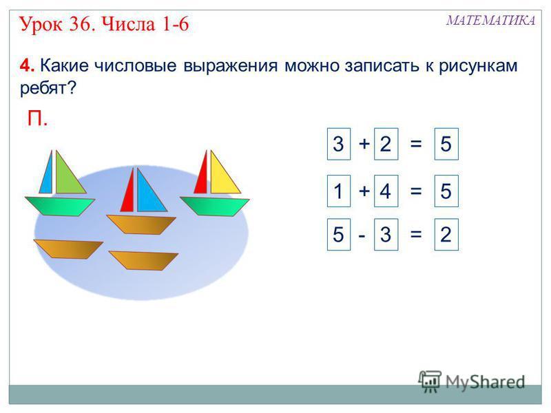 3 + 2 = 51 + 4 = 5 П. 5 - 3 = 2 МАТЕМАТИКА 4. Какие числовые выражения можно записать к рисункам ребят? Урок 36. Числа 1-6