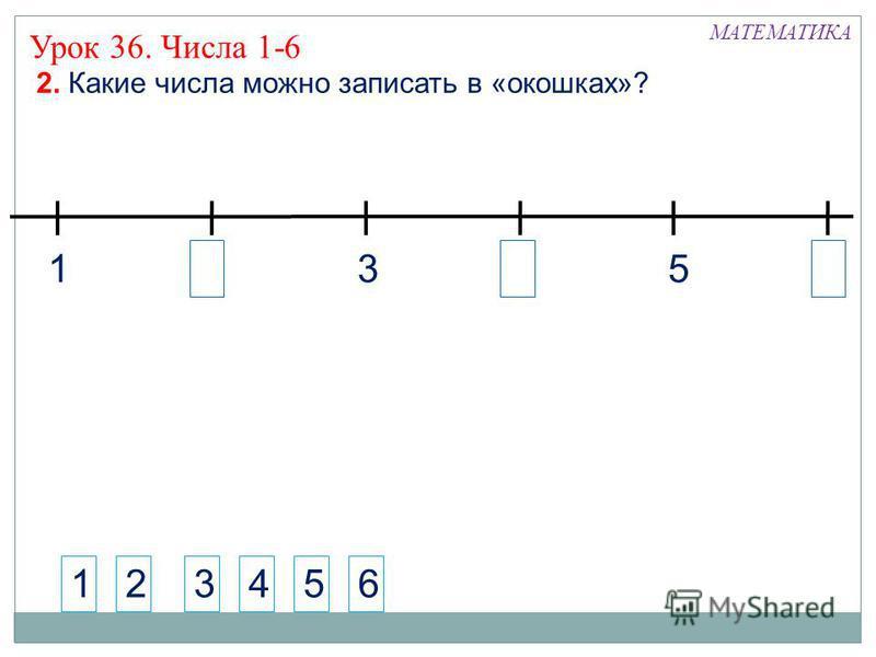 МАТЕМАТИКА 1. Что ты можешь сказать о фигуре на рисунке? ? Как бы ты назвал эту фигуру? ! Это – шестиугольник. Сложите из палочек фигуры и назовите их. Урок 36. Числа 1-6