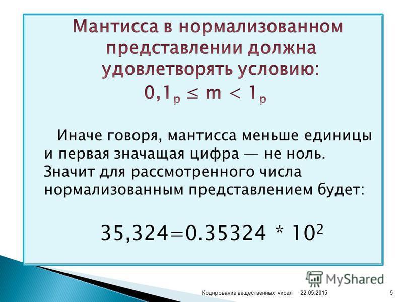 22.05.2015 5Кодирование вещественных чисел