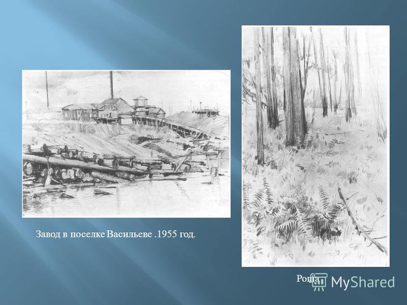 Завод в поселке Васильеве.1955 год. Роща