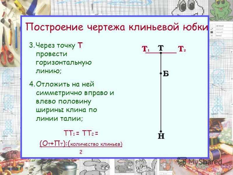Построение чертежа клиньевой юбки 3. Через точку Т провести горизонтальную линию; 4. Отложить на ней симметрично вправо и влево половину ширины клина по линии талии; ТТ 1 = ТТ 2 = (О Т +П Т ):( количество клиньев) 2
