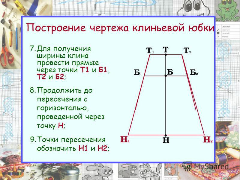 Построение чертежа клиньевой юбки 7. Для получения ширины клина провести прямые через точки Т1 и Б1, Т2 и Б2; 8. Продолжить до пересечения с горизонталью, проведенной через точку Н; 9. Точки пересечения обозначить Н1 и Н2;